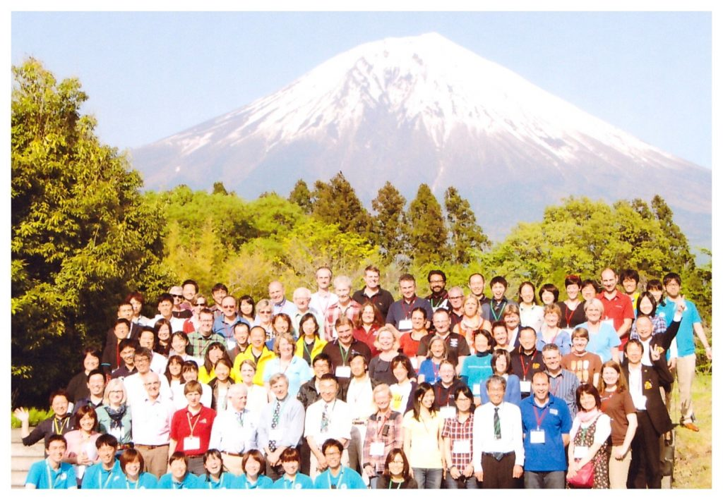 Group photo outdoors at IGDF summit in Japan 2014.